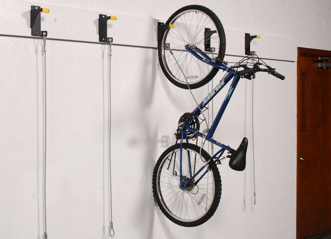 Bicycle Wall Rider hanging storage with bike cable